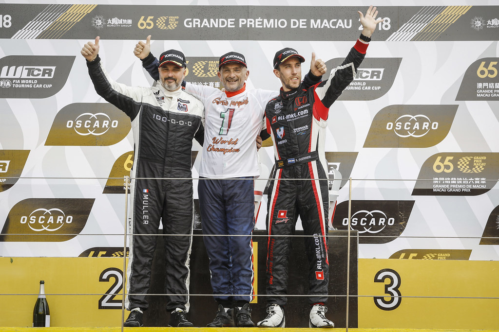 MULLER Yvan, (fra), Hyundai i30 N TCR team Yvan Muller Racing, portrait TARQUINI Gabriele, (ita), Hyundai i30 N TCR team BRC Racing, portrait  GUERRIERI Esteban, (arg), Honda Civic TCR team ALL-INKL.COM Munnich Motorsport, portrait world championship podium during the 2018 FIA WTCR World Touring Car cup of Macau, Circuito da Guia, from november  15 to 18 - Photo Francois Flamand / DPPI
