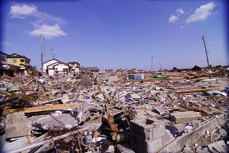 2011東日本海嘯襲擊福島縣磐城市的災後景象。