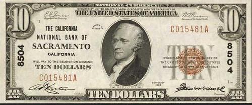 $10 Sacramento, CA National Bank Note