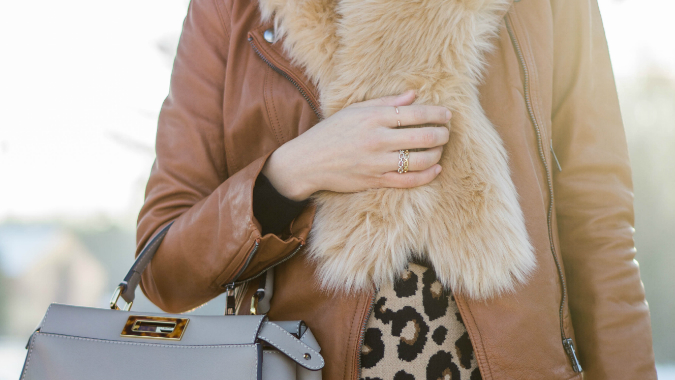 faux fur scarf, Banana Republic classic leather moto jacket, black cashmere sweater, Fendi peekaboo, Ann Taylor spotted full sweater skirt, Shashi Ava ring, Ann Taylor pave link stacked ring set