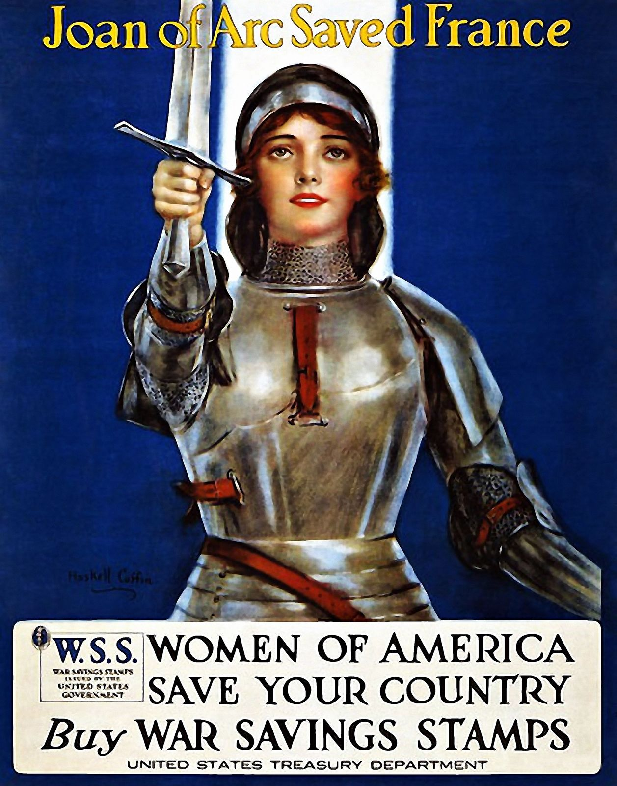 World War I propaganda poster by the United States Treasury using an image of Joan of Arc to sell War Savings Stamps.