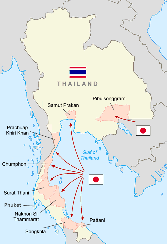 Map of the Japanese invasion of Thailand, December 8, 1941