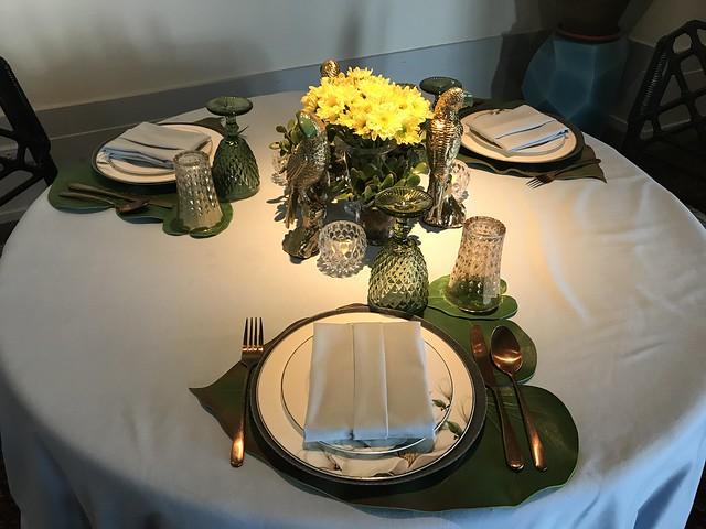 Manila House, green table setting