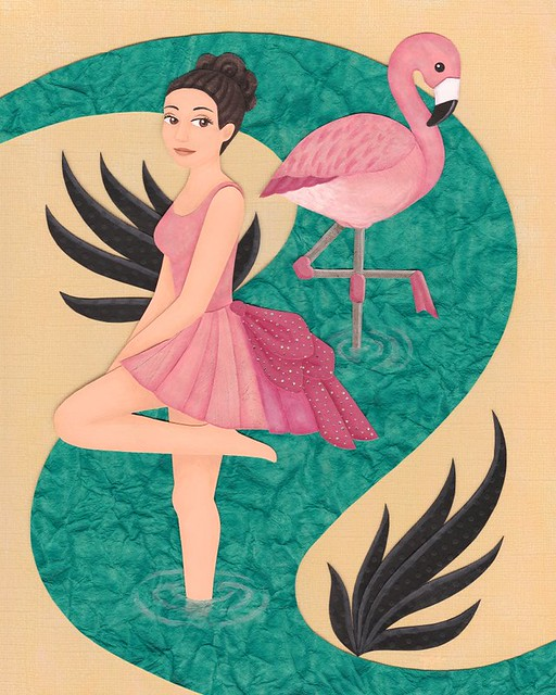 Flamingo Friend - Cut paper art