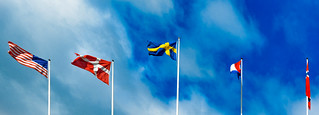 Flags: United States, Denmark, Sweden, the Netherlands and Norway