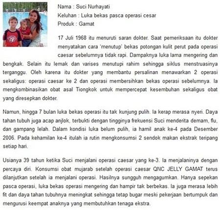 Testimoni QnC Jelly Gamat Sebagai Salep Penghilang Bekas Koreng