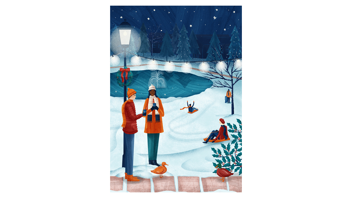 Christmas card design 2018 - An illustration of the University of Bath lake in Winter by Brittany Molineux