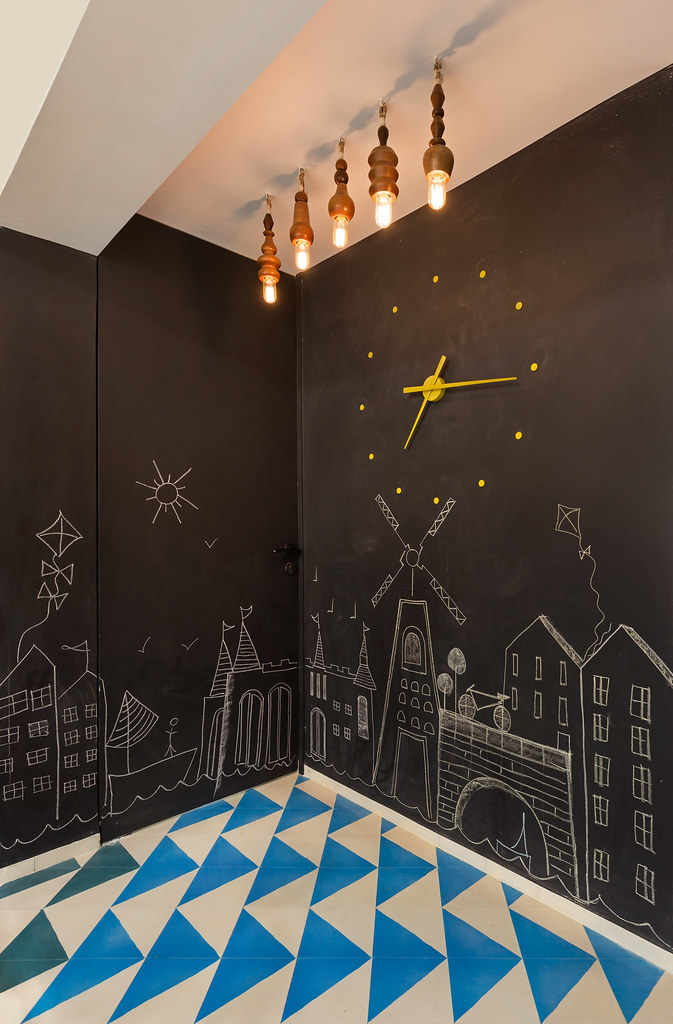 A chalkboard wall in the dining area