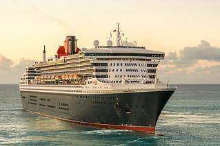 Queen Mary 2. Departure from Bridgetown, Barbados