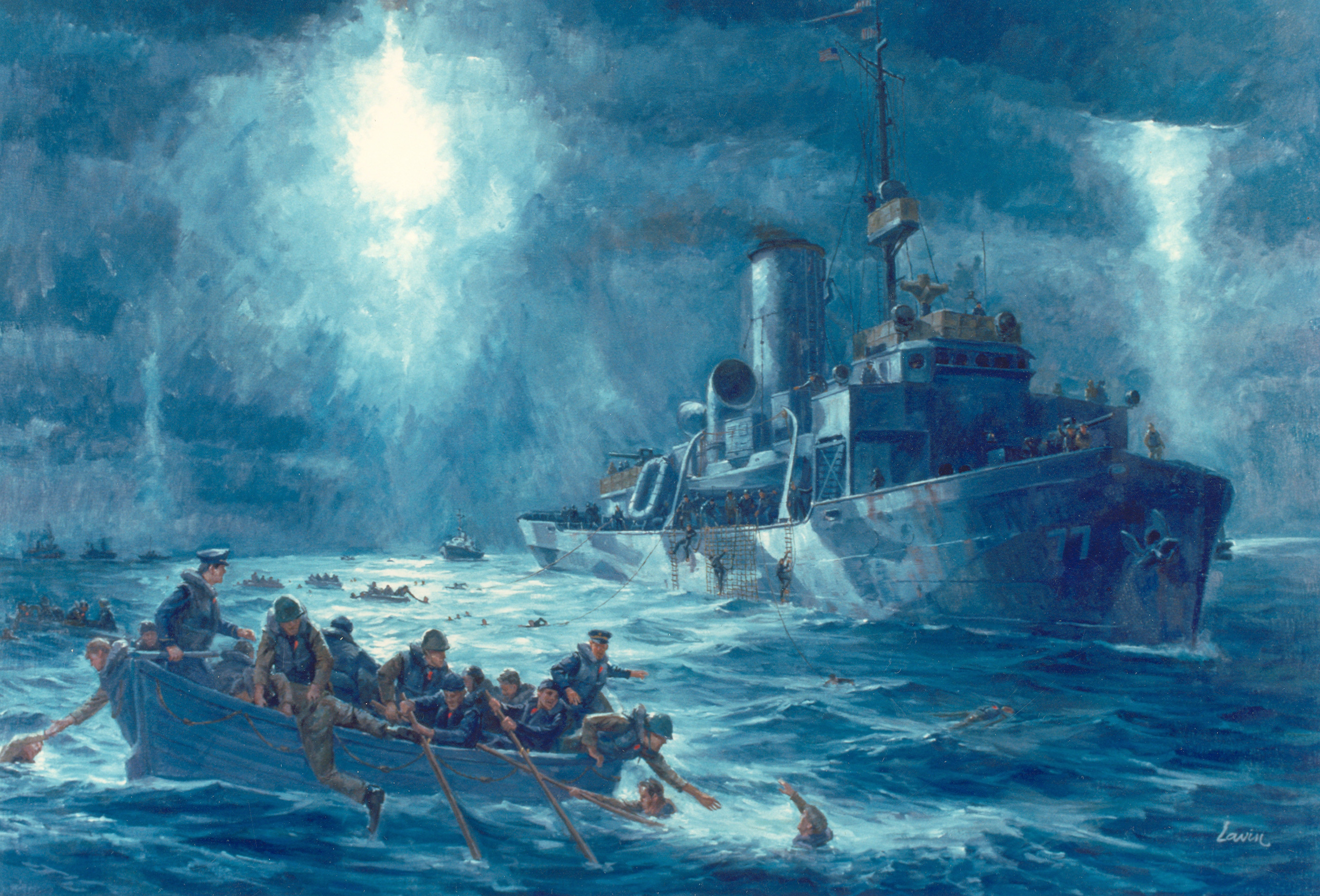 Painting of the rescue of S.S. Dorchester survivors by USCGC Escanaba (WPG-77) on February 3, 1943, in the North Atlantic Ocean. From United States Coast Guard Historian's Office at http://www.uscg.mil/history/articles/tetheredrescueswimmer.asp.