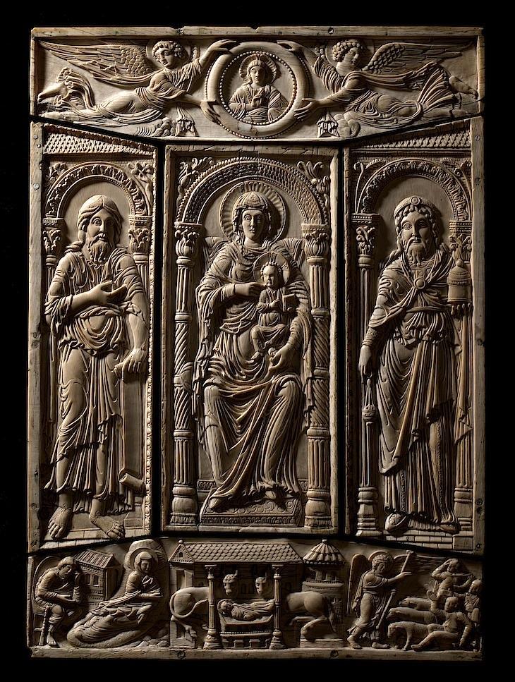 An ivory cover of the Codex Aureus of Lorsch, Germany, circa 800.