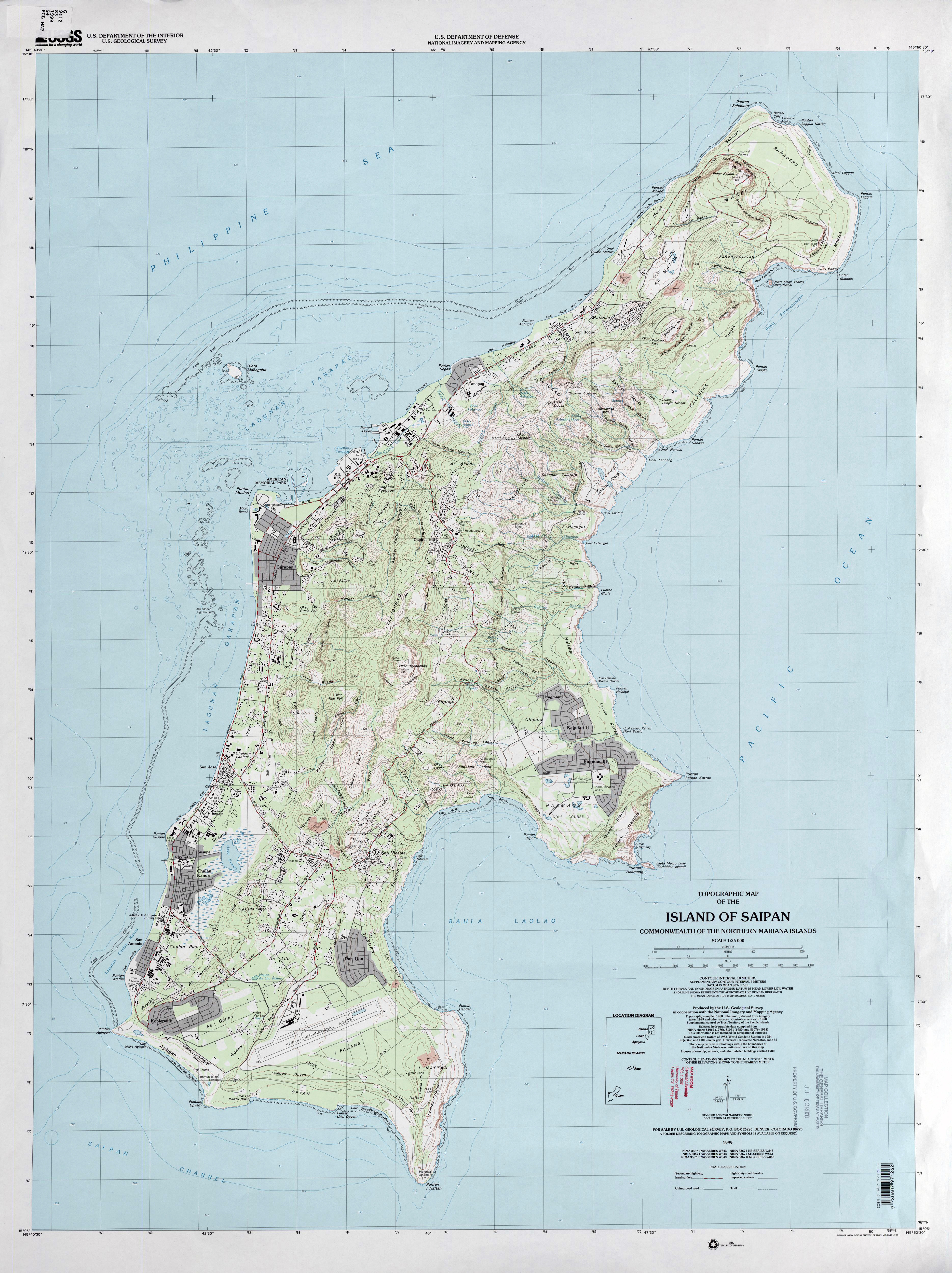 Topographical map of Saipan island in the Commonwealth of Northern Mariana Islands.