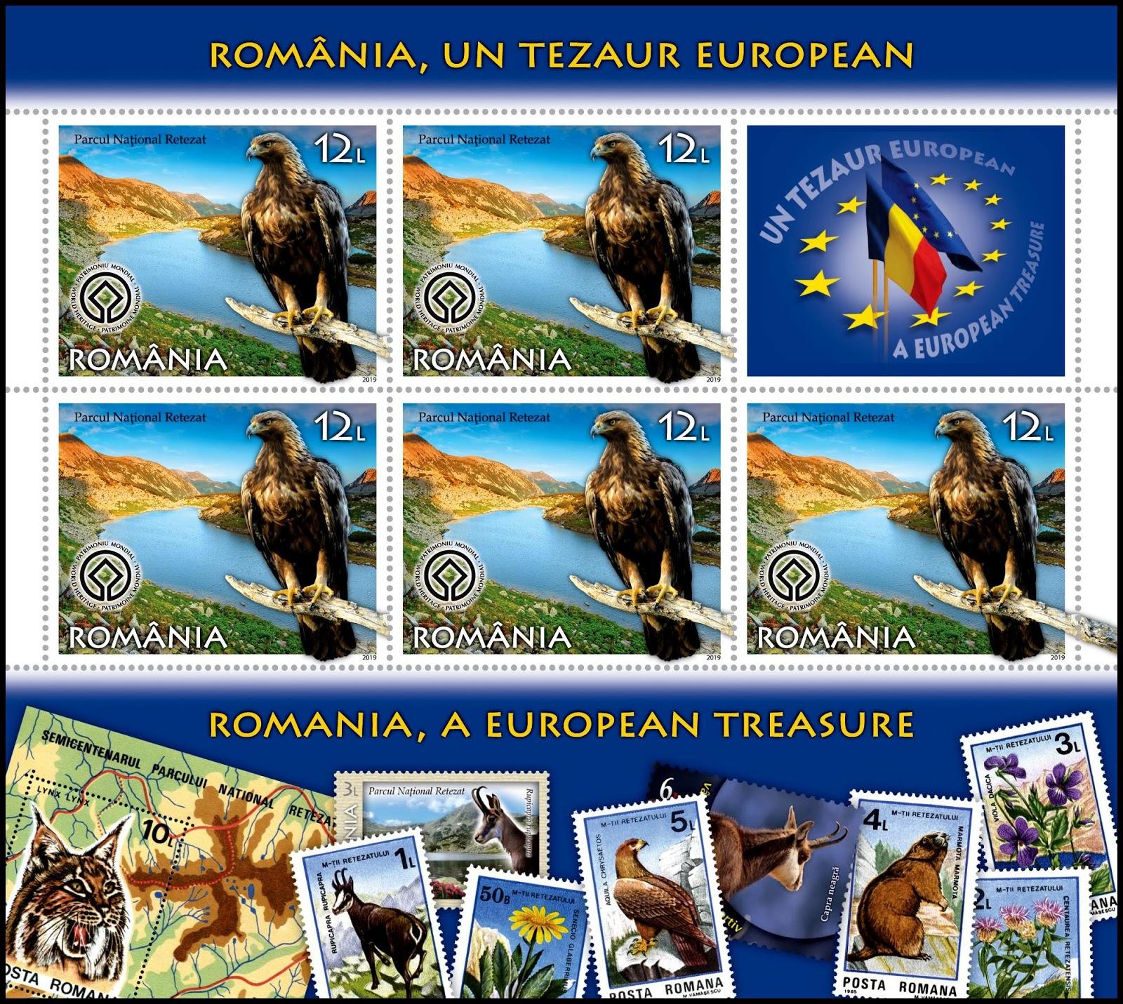 Romania - A National Treasure (January 16, 2019) design #6 sheet of 5 + label