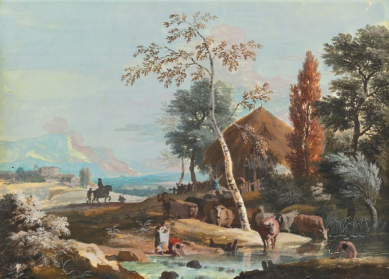 Marco Ricci - A Landscape with Washerwomen and a Man Bathing on a River Near a Thatched Cottage