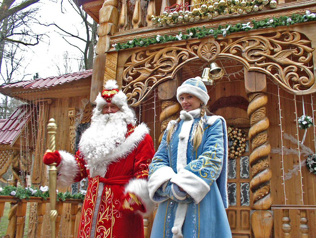 Ded Moroz and Snegurochka in Belovezhskaya Pushcha, Belarus. Photo taken on December 18. 2004.