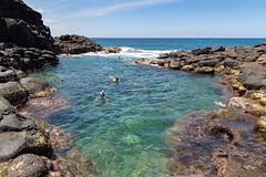 Snorkeling Princeville pools Kauai, Hawaii