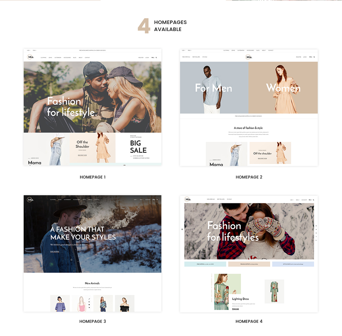 4+ premade homepages for Clothing and Accessories Prestashop theme