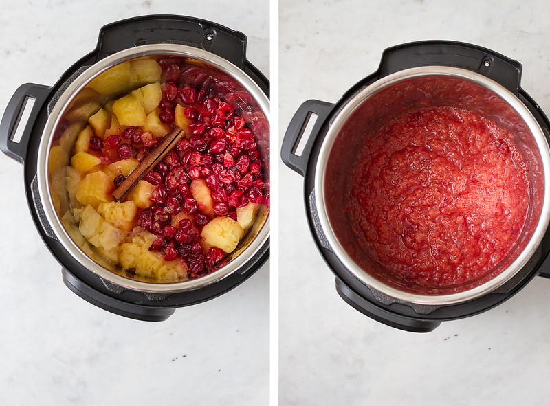cranberry applesauce just finished cooking in the instant pot, and after being blended