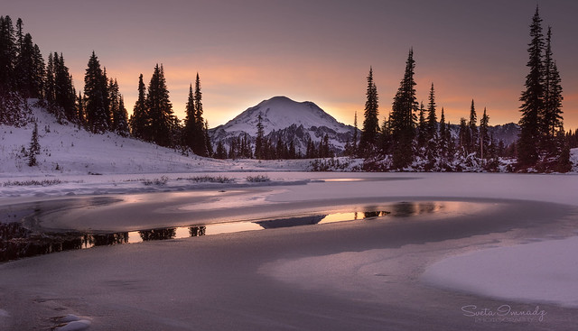 Tipsoo Lake at Sunset. (Mt Rainier NP, WA)