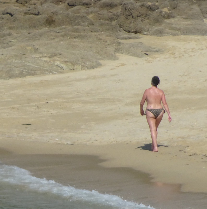 Beach-walking woman