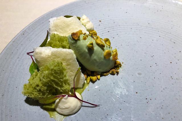 Avocado, pistachio, yogurt snow
