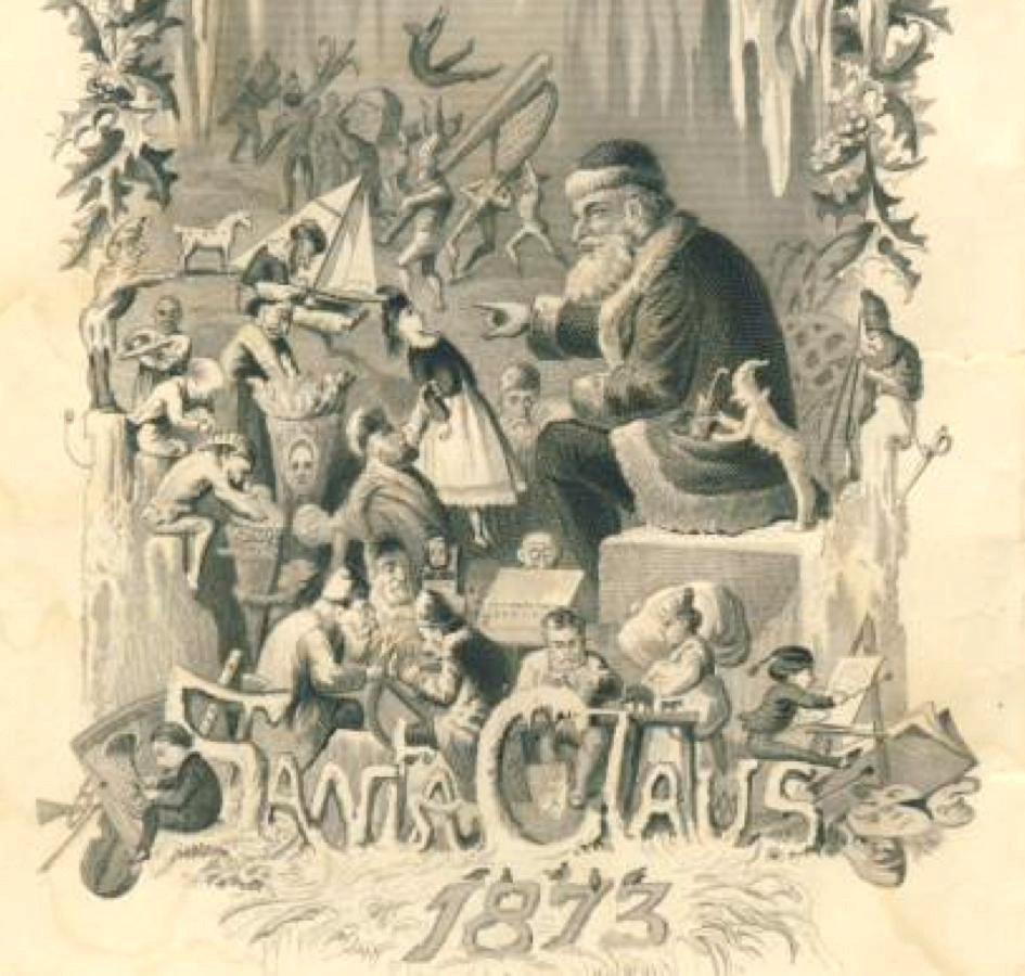 Engraving of Santa Claus and his elves from Godey's Lady's Book, 1873