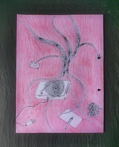 """Our pleasant sojourn in Aranjuez is over now"" (First Sentence of the play ""Don Karlos"" by Schiller) ""Die schönen Tage in Aranjuez sind nun zu Ende"" - Doodle in my Prompter Book ""Don Karlos"" Page 3 Beginn des Stückes"