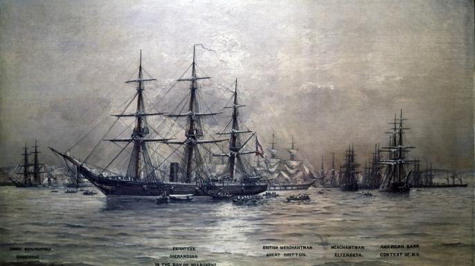 CSS Shenandoah surrenders at Liverpool, England, on November 6, 1865.