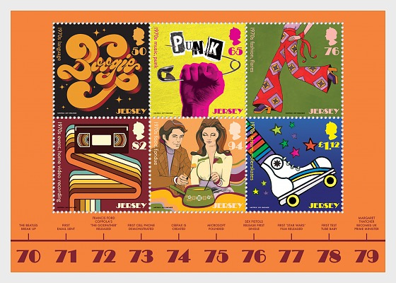 Jersey - Popular Culture: The 1970s (January 18, 2019) miniature sheet of 6