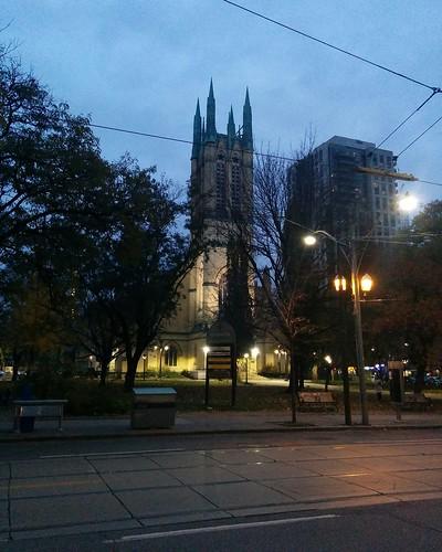 Metropolitan United Church at twilight #toronto #churchstreet #metropolitanunitedchurch #churcjes #lights #twilight #night