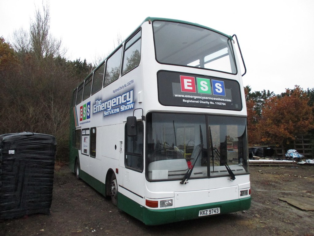 How to disguise ex London PVL 158 - X558 EGK - seen at Malmesbury garden centre as HXZ 9743 on Fri 16.11.18. It has been with Plymouth Citybus and Target Travel in between.