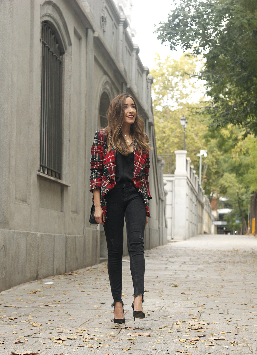 Tartan blazer black outfit heels givenchy bag street style fall outfit 20183892