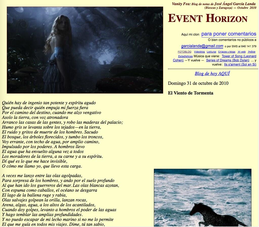 Event Horizon (Blog de notas de octubre de 2010)