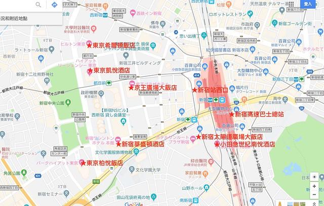 新宿利木津地圖飯店