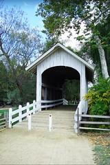 USA, la Californie, le pont couvert au parc Roaring Camp Railroads