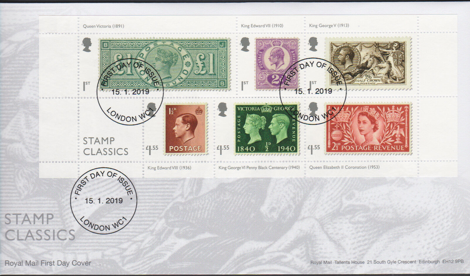 Great Britain - Stamp Classics (January 15, 2019) first day cover - London WC1 non-pictorial cancellation