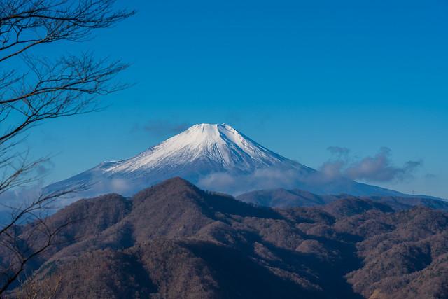 大杉丸まで登ると富士山がお出まし、、手前は畦ヶ丸