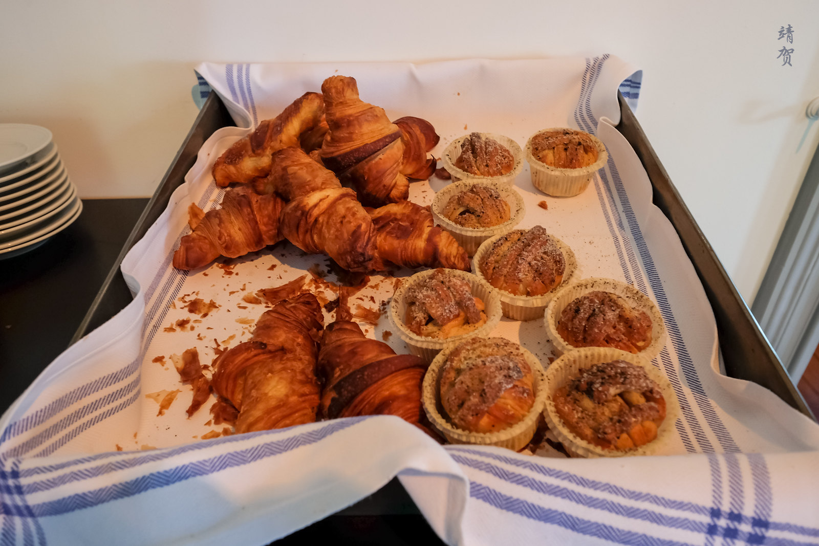 Croissants and muffins