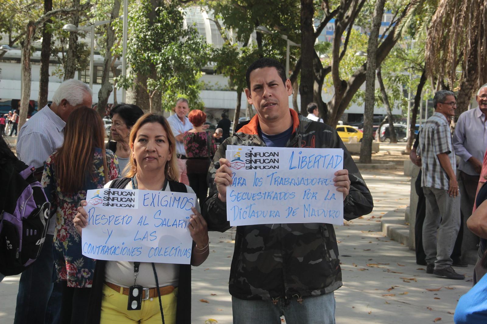 13.12.18 concentración de trabajadores exigiendo respeto a los derechos laborales Parque Carabobo - Caracas