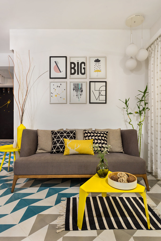 Patterned cement tiles from Bharat Flooring in living room