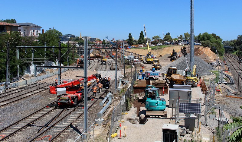 South Yarra - Metro tunnel works October 2018, looking SE