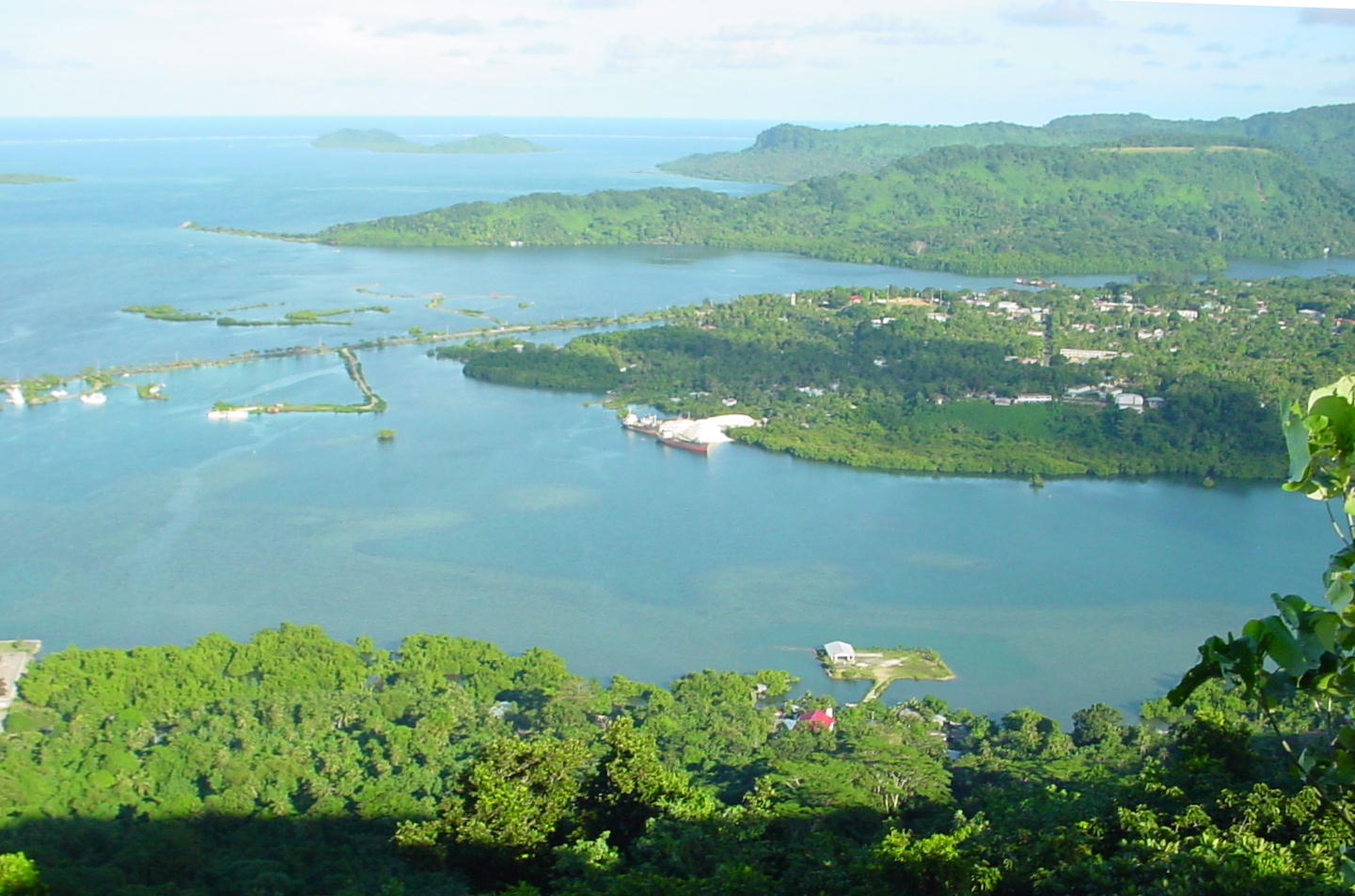 A view of Kolonia Town from Sokehs Ridge in Pohnpei. Photo taken on September 8, 2006.