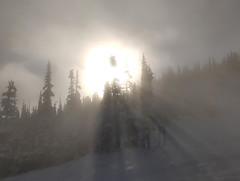 Sunbeams through snow clouds