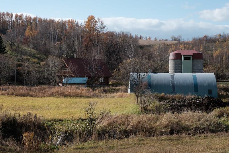秋の美瑛の牧場