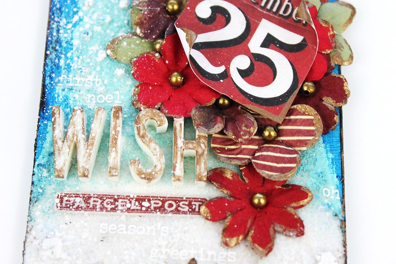 Meihsia Liu Simply Paper Crafts Mixed Media Christmas Tag Let It Snow Simon Says Stamp Tim Holtz 3