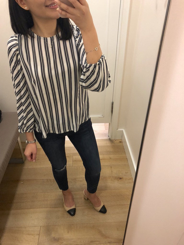 LOFT Striped Puff Sleeve Blouse, size XSP
