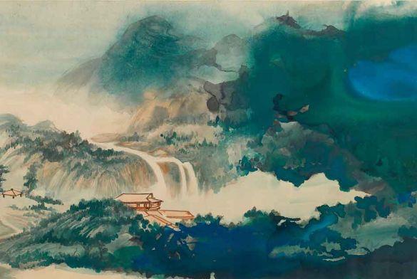 ZhangDaqianWaterAndSkyGazingAfterRainInSplashedColor1968InkAndColorOnPaperHorizontalScroll