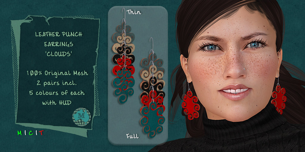 Macca – Leather Punch Earrings Clouds