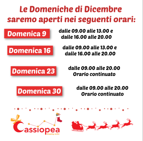 Domeniche aperte Cassiopea shopping center