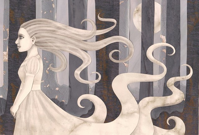 Woman in White - Cut paper art